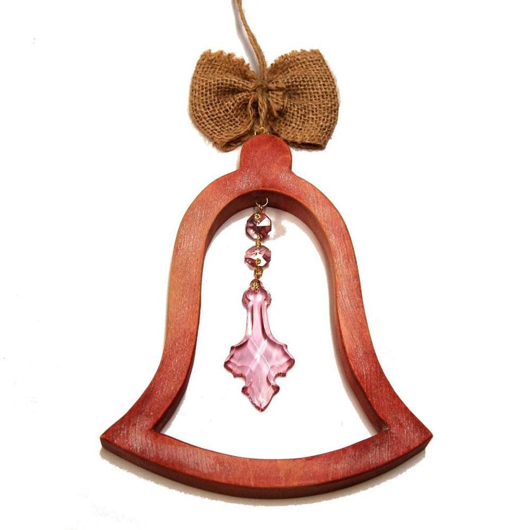 Drevený Zvonček medený-darček pre ženy-vianočná dekorácia-drevená dekorácia
