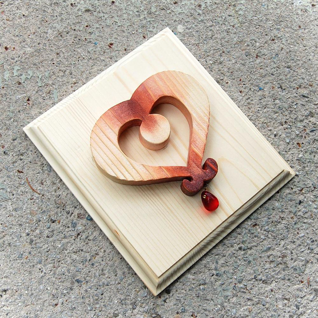 Drevený obraz Medené Tyrolské srdce -darček pre ženy